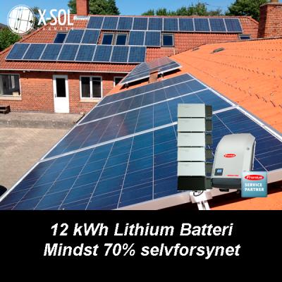 13,2 Kwp Hybrid solcellanlæg med 12 kWh lithiumbatteri