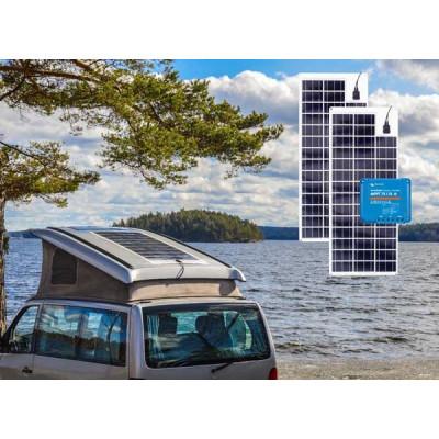 Komplet solcelleanlæg til campingvogn 720 wh (180WP) Fleksibel solceller