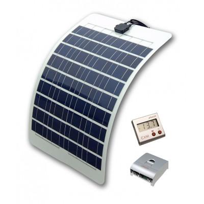 Solcelleanlæg til campingvogn Flex 150watt sæt display
