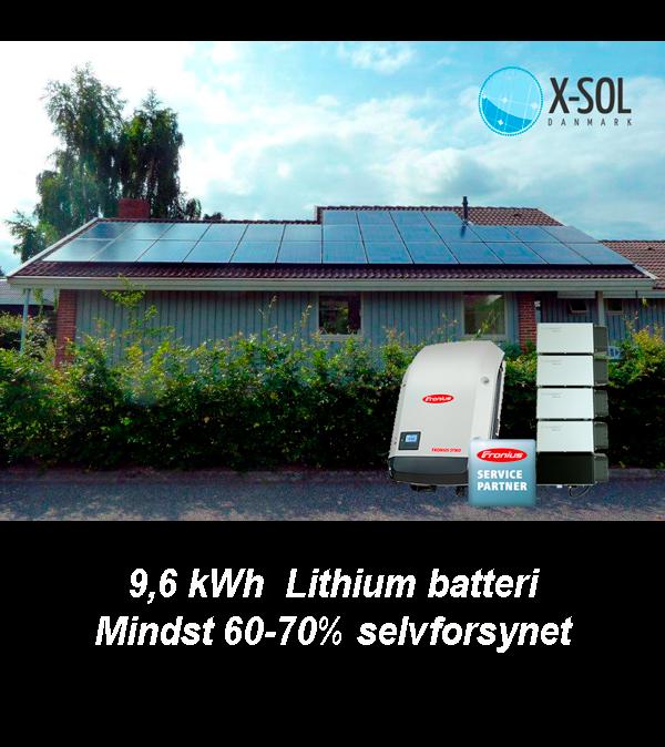 9 kWp solcelleanlæg 9,6 kwh batteri