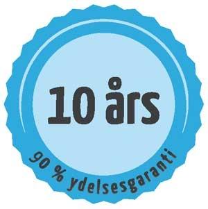 Ydelsesgaranti 90% efter 10 år