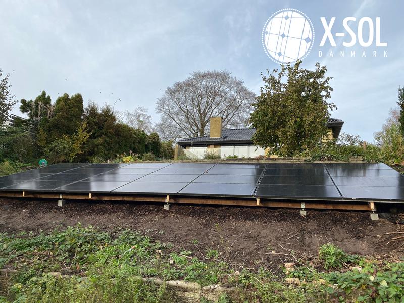 Solcelleanlæg på jord tilpasset placering